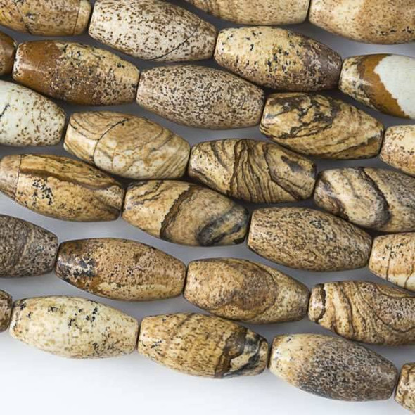 Picture Jasper 7x14mm Rice Beads - approx. 8 inch strand, Set A