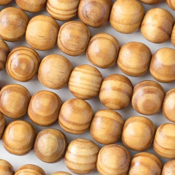 Pine Wood 12mm Round Beads - 16 inch strand