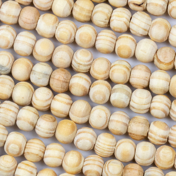 Natural Pine Wood 8mm Round Beads - 16 inch strand