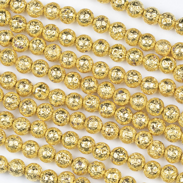 Gold Plated Lava 6mm Round Beads - approx. 15 inch strand