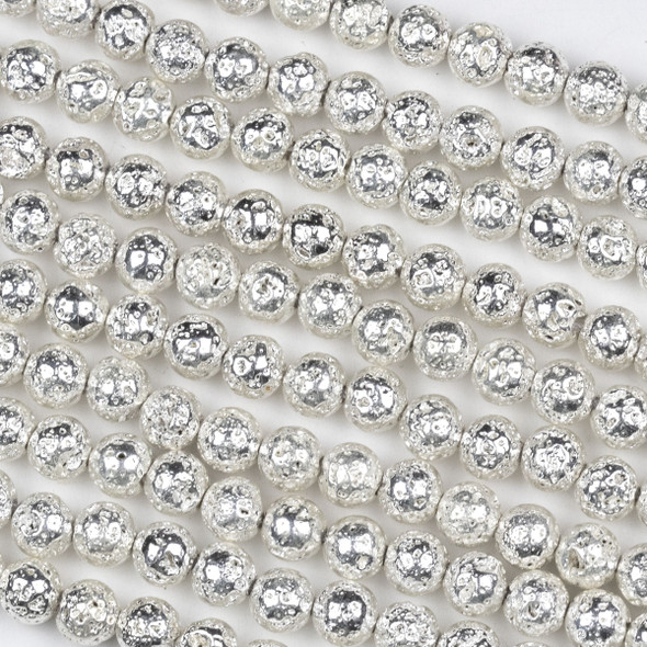 Silver Plated Lava 6mm Round Beads - approx. 15 inch strand