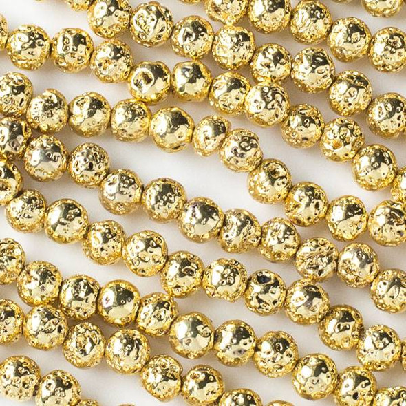 Gold Plated Lava 8mm Round Beads - approx. 15 inch strand
