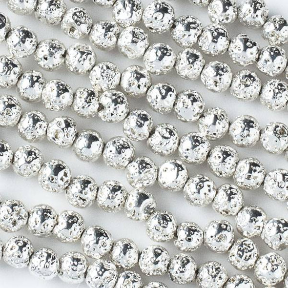 Silver Plated Lava 8mm Round Beads - approx. 15 inch strand