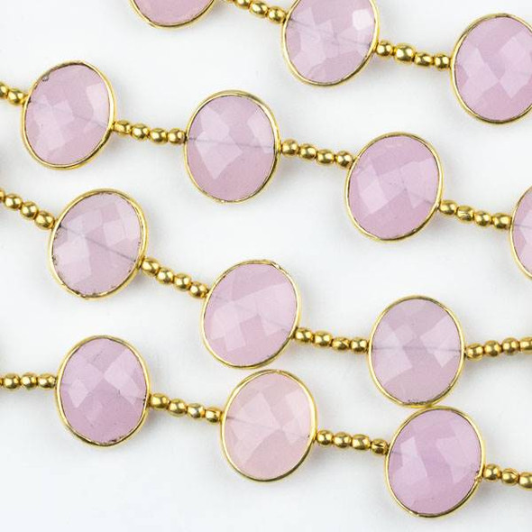 Pink Chalcedony 11x13mm Horizontally Drilled Faceted Oval Beads with Gold Plated Bezel - 8 inch strand with spacer beads