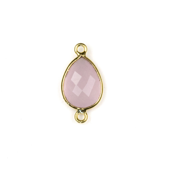 Pink Chalcedony approximately 11x22mm Teardrop Link with a Gold Plated Brass Bezel - 1 per bag