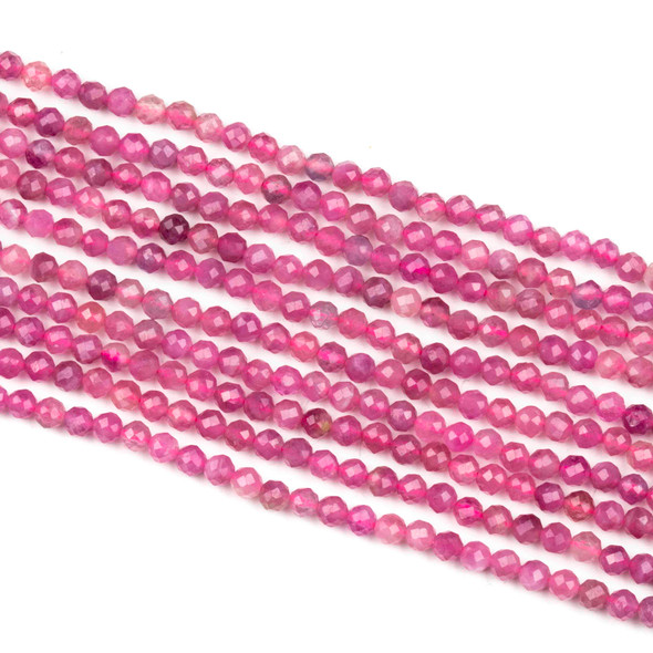 Pink Tourmaline 4mm Faceted Round Beads - 15 inch strand