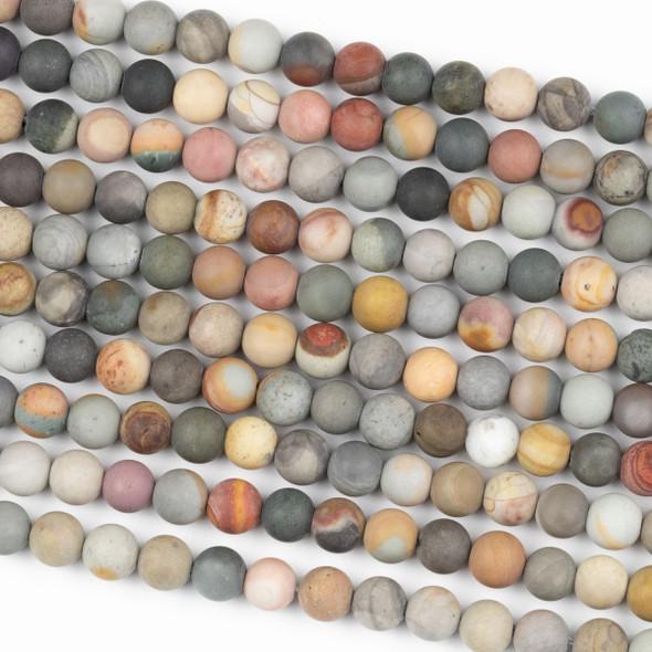 Matte Polychrome Jasper 6mm Round Beads - 15 inch strand