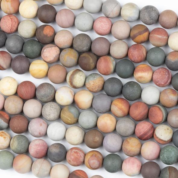 Matte Polychrome Jasper 8mm Round Beads - 15 inch strand