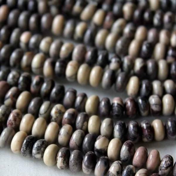 Porcelain Jasper 4x6mm Rondelle Beads - 16 inch strand