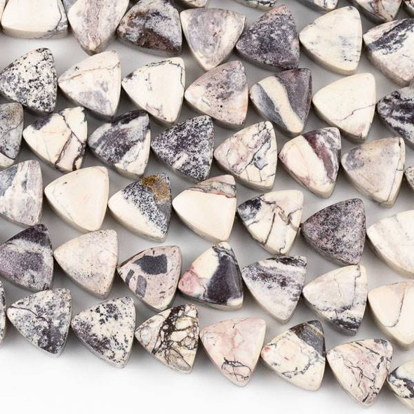 Porcelain Jasper 13x14mm Triangle Beads (9-10mm thick) - 15 inch strand