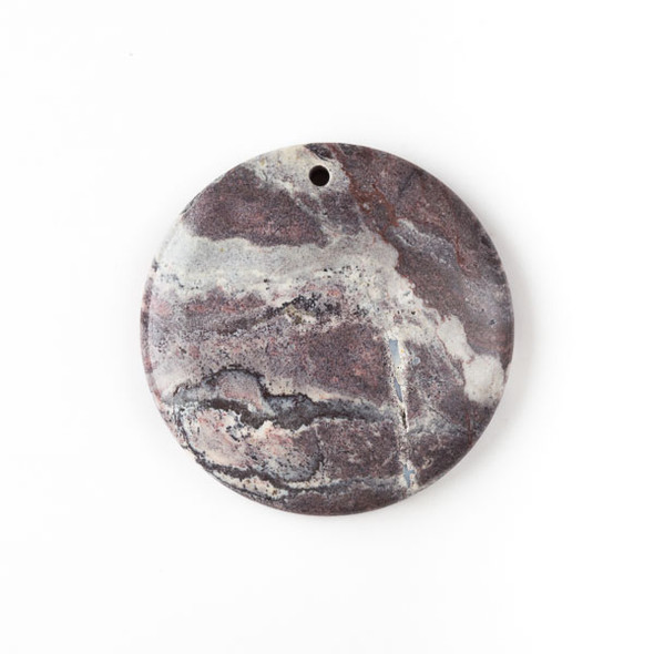 Porcelain Jasper 40mm Top Front to Back Drilled Coin Pendant with a Flat Back - 1 per bag
