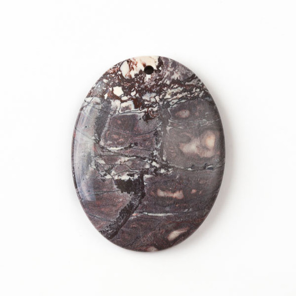 Porcelain Jasper 35x45mm Top Front to Back Drilled Oval Pendant with a Flat Back - 1 per bag