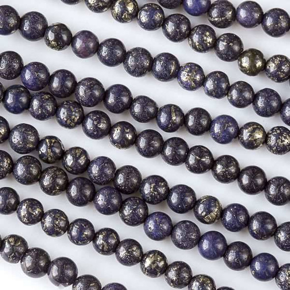 Purple Pyrite 6mm Rounds - 16 inch strand