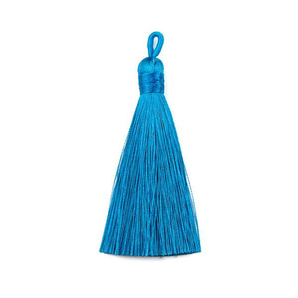 "Azure Blue 3"" Silky Thread Tassels - 2 per bag"