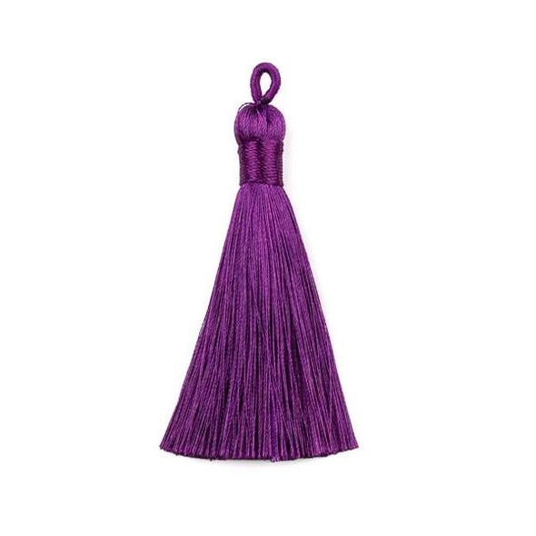 """Dark Purple 3"""" Silky Thread Tassels - 2 per bag"""
