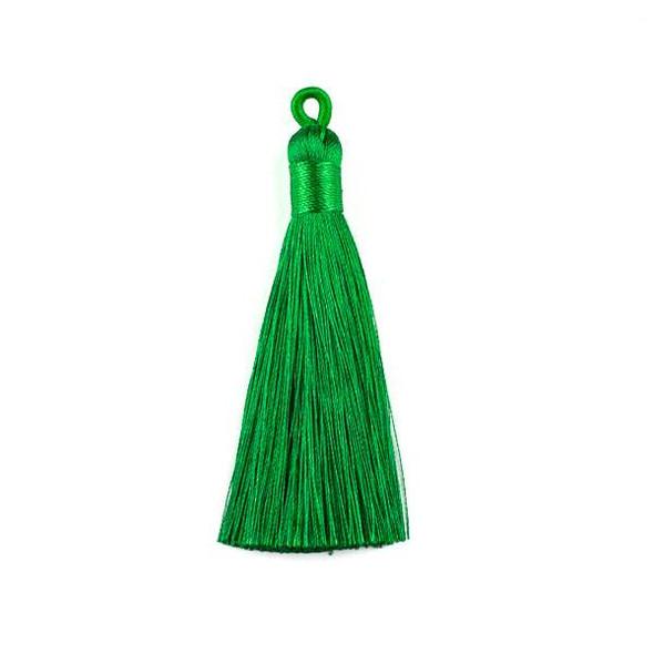 "Emerald Green 3"" Silky Thread Tassels - 2 per bag"