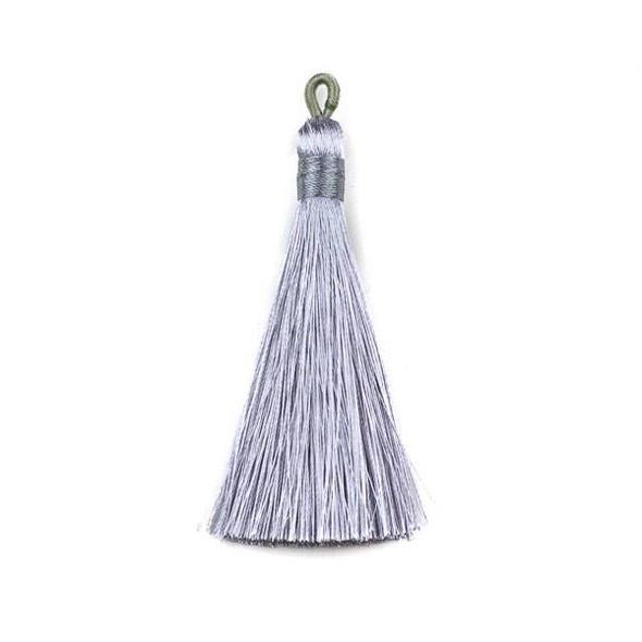 """Grey 3"""" Silky Thread Tassels - 2 per bag"""