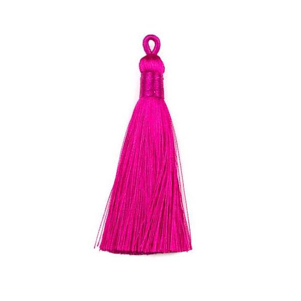"""Pink 3"""" Silky Thread Tassels - 2 per bag"""