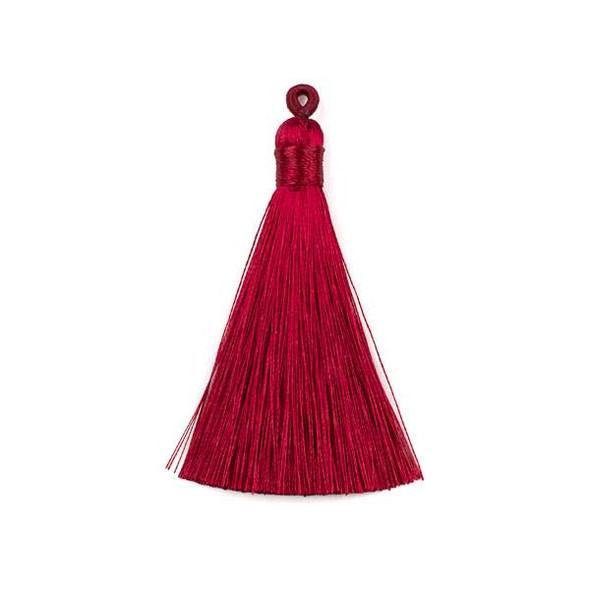 """Wine Red 3"""" Silky Thread Tassels - 2 per bag"""