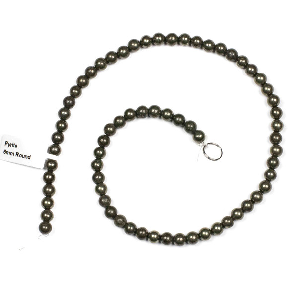 Pyrite 6mm Round Beads - 15 inch strand