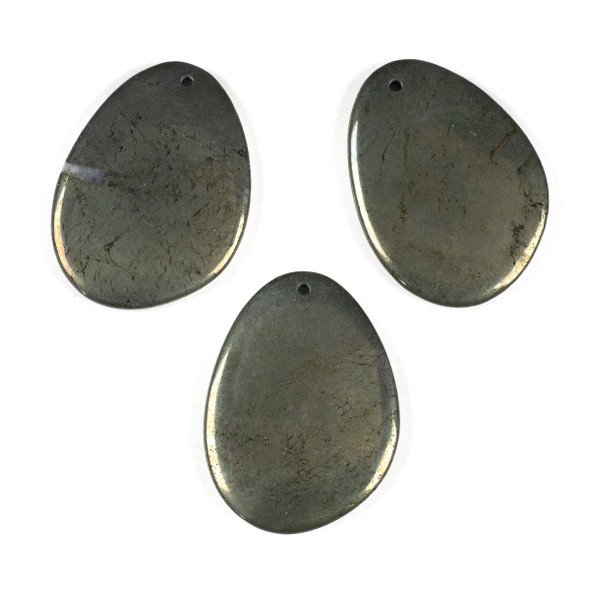 Pyrite 40x55mm Top Drilled Free Form Pendant - 1 per bag
