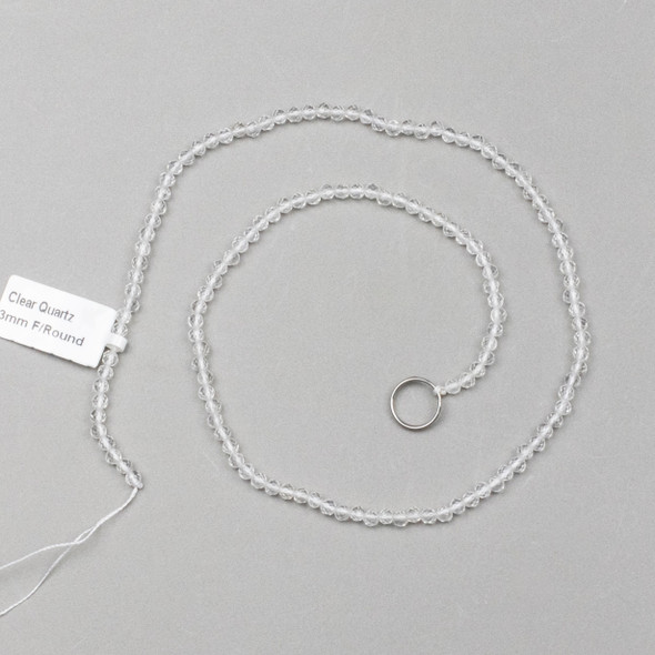 Quartz 3mm Faceted Round Beads - 15 inch strand