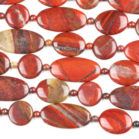 Apple Jasper 15x20mm and 15x30mm Oval Beads, 15mm Coin Beads, and 4mm Round Beads - 15 inch mixed strand