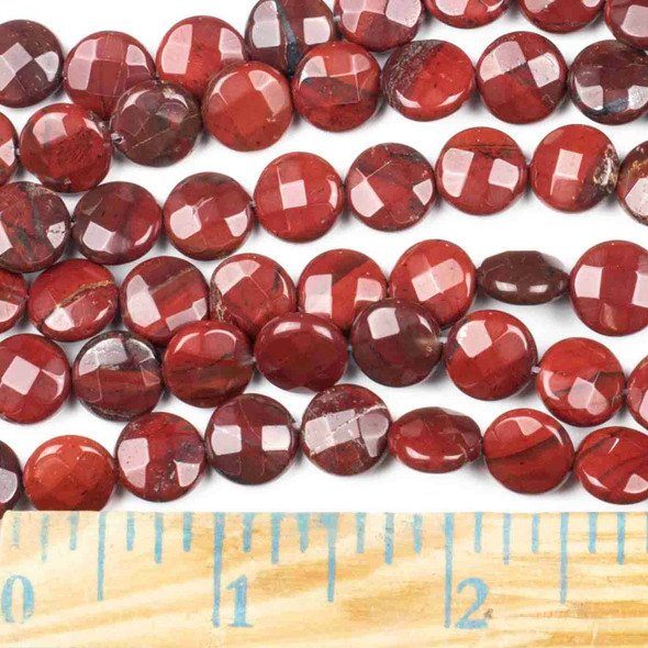 Rainbow Jasper Faceted 10mm Coin Beads - approx. 8 inch strand, Set B