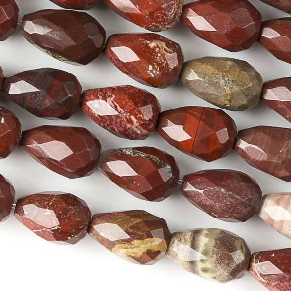 Rainbow Jasper 8x12mm Faceted Rounded Teardrop Beads - approx. 8 inch strand, Set B