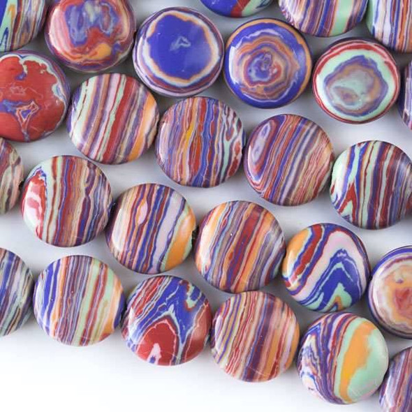 Rainbow Synthetic 10mm Coin Beads - approx. 8 inch strand, Set A