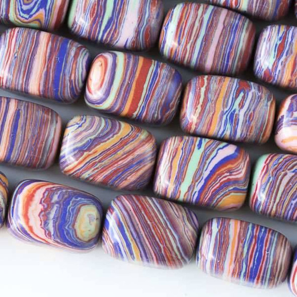 Rainbow Synthetic 10x14mm Nugget Beads - approx. 8 inch strand, Set A