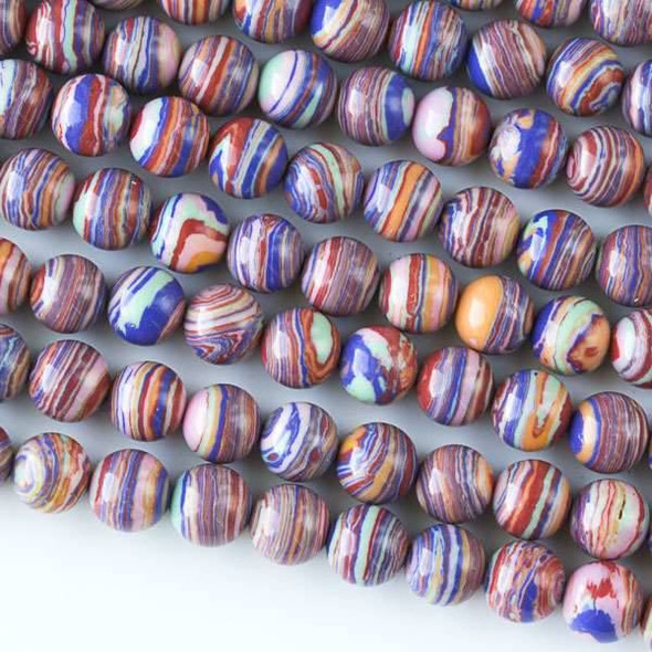 Rainbow Synthetic 6mm Round Beads - approx. 8 inch strand, Set A