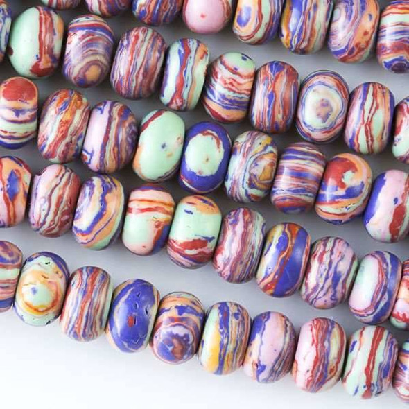 Rainbow Synthetic 5x8mm Rondelle Beads - approx. 8 inch strand, Set A