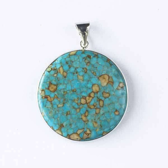 Reconstituted Magnesite 40x55mm Coin Pendant with a Silver Base Metal Bail