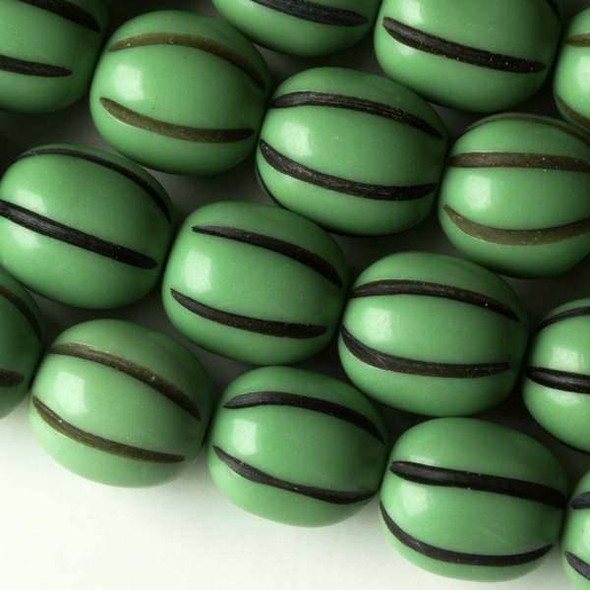 Resin 13x15mm Green Pumpkin Oval with Black Lines