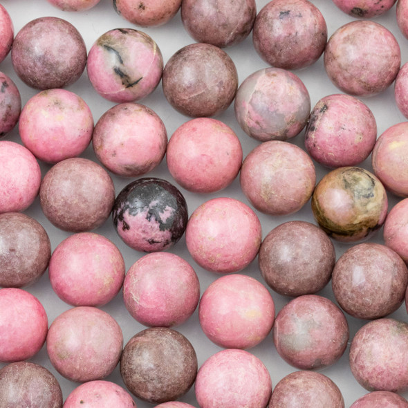 Rhodonite 16mm Round Beads - 15 inch strand