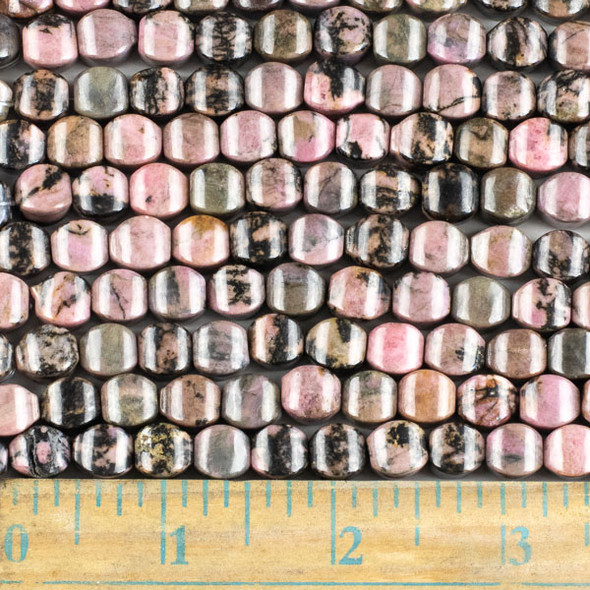 Rhodonite with Matrix 8mm Cushion Beads - approx. 8 inch strand, Set A