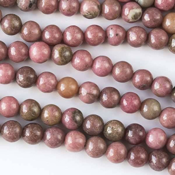 Rhodonite 6mm Round Beads - approx. 8 inch strand, Set A