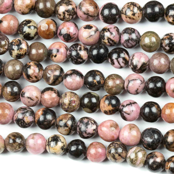 Rhodonite with Matrix 6mm Round Beads - approx. 8 inch strand, Set A