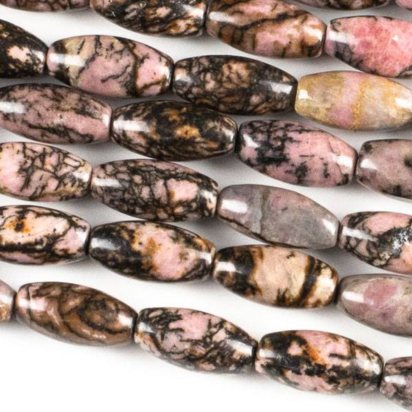 Rhodonite with Matrix 7x14mm Rice Beads - approx. 8 inch strand, Set A