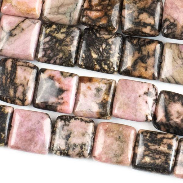 Rhodonite with Matrix 10mm Square Beads - approx. 8 inch strand, Set A