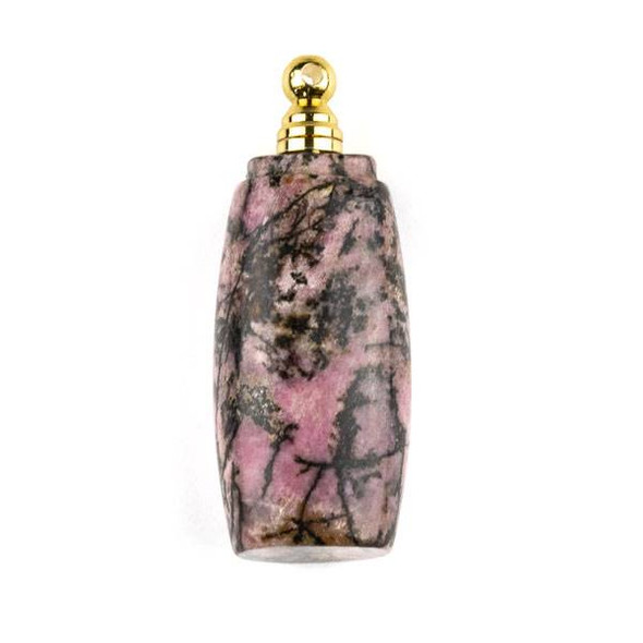 Rhodonite 18x37mm Flat Tube Perfume Bottle Pendant with Gold Plated Stainless Steel Top #7