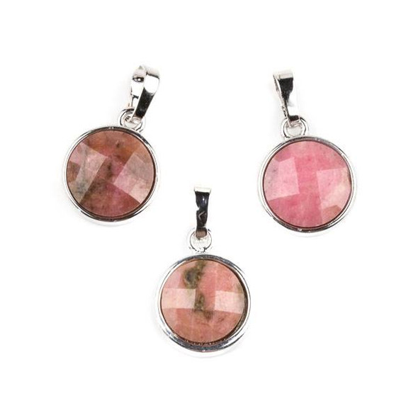 Rhodonite 12mm Faceted Coin Pendant with Silver Plated Bezel and Bail -  1 per bag