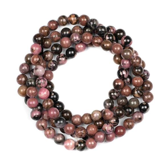 Rhodonite 8mm Mala Round Beads - 36 inch strand
