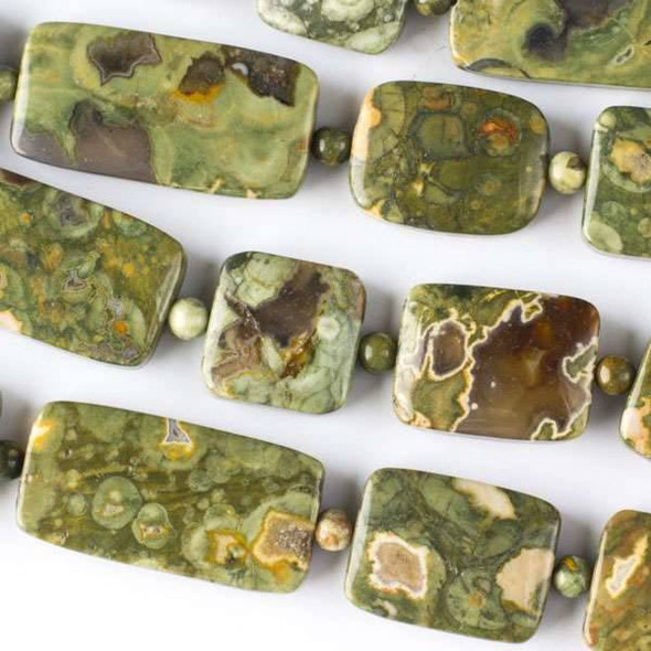 Rhyolite 15mm Squares and 15x20mm-15x30mm Rectangles alternating with 4mm Rounds - approx. 8 inch strand