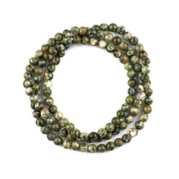 Rhyolite 6mm Mala Round Beads - 29 inch strand