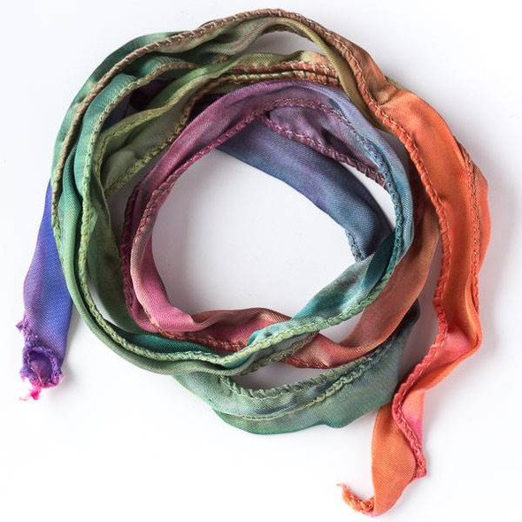 Hand Dyed Double Rainbow Ribbon