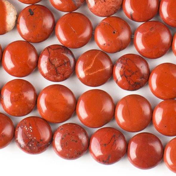 Red Jasper 10mm Coin Beads - approx. 8 inch strand, Set A
