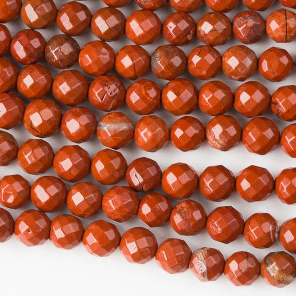 Red Jasper 6mm Faceted Rounds - 8 inch strand