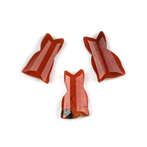 Red Jasper 12x20mm Top Drilled Faceted Cat Pendant - 1 per bag